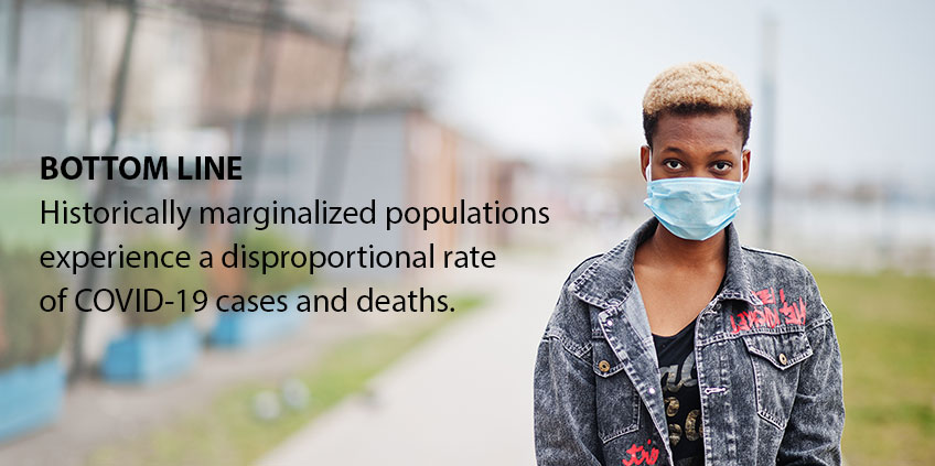 BOTTOM LINE: Historically marginalized populations experience a disproportional rate of COVID-19 cases and deaths.