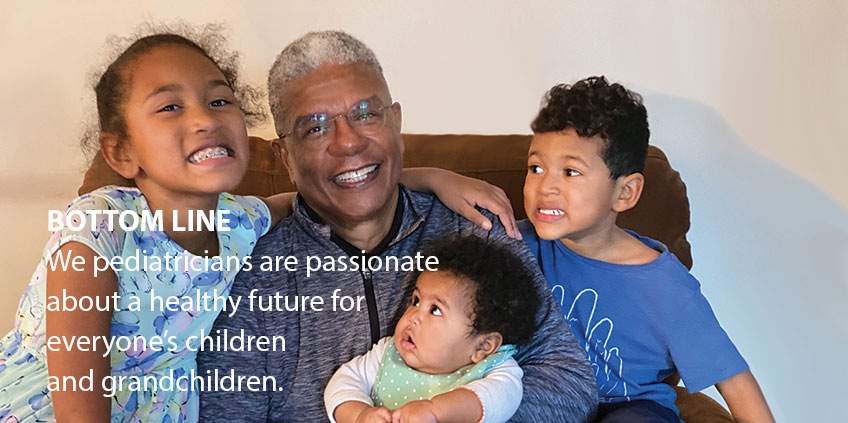 Dr. Nichols (center) relaxes with his grandchildren.
